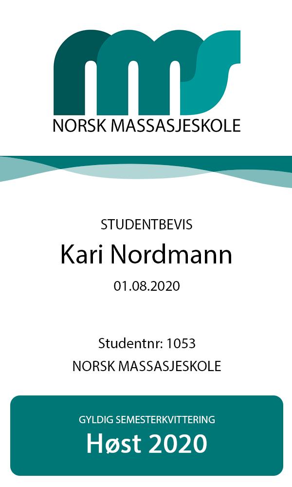 Studentbevis Norsk Massasjeskole